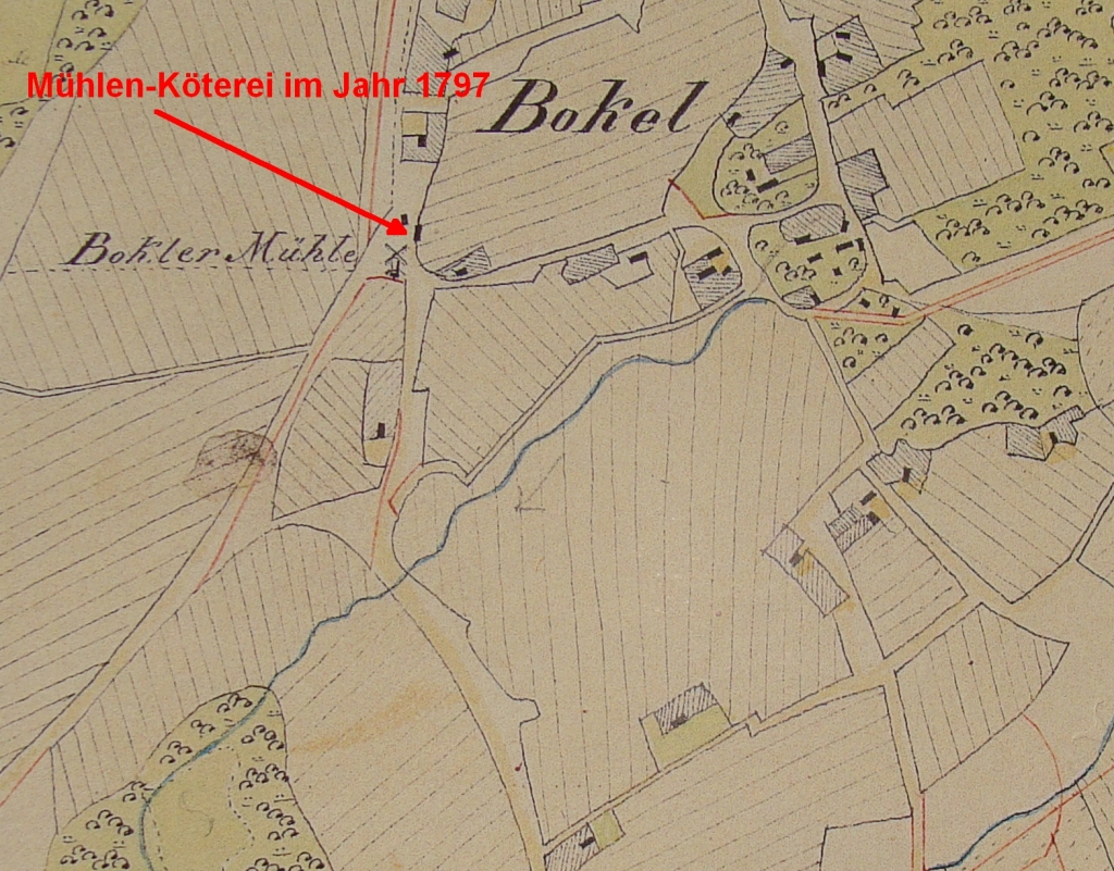 Hobbie-Köterei near mill in Bokel in Vogteikarte from 1797