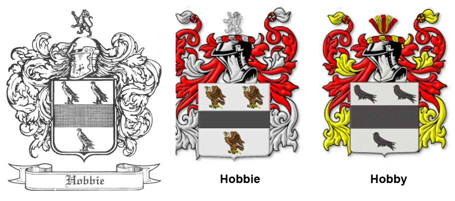 Coat of arms for the Hobbie-families in Great Britain