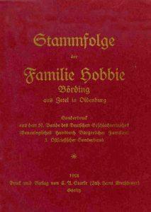 Special print (cover) of Hobbie-Zetel family tree