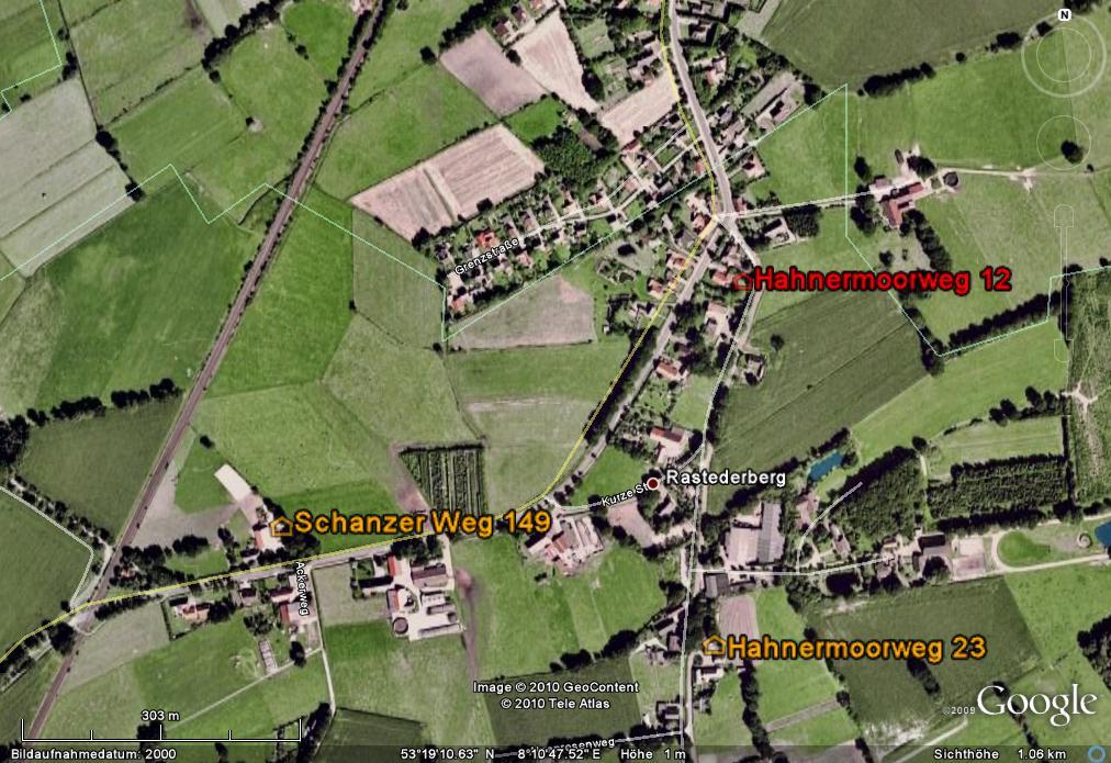 Early Hobbie-farms in Rastederberg in GoogleEarth