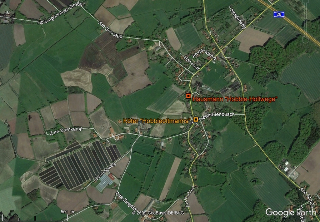 Farms in Hollwege in GoogleEarth