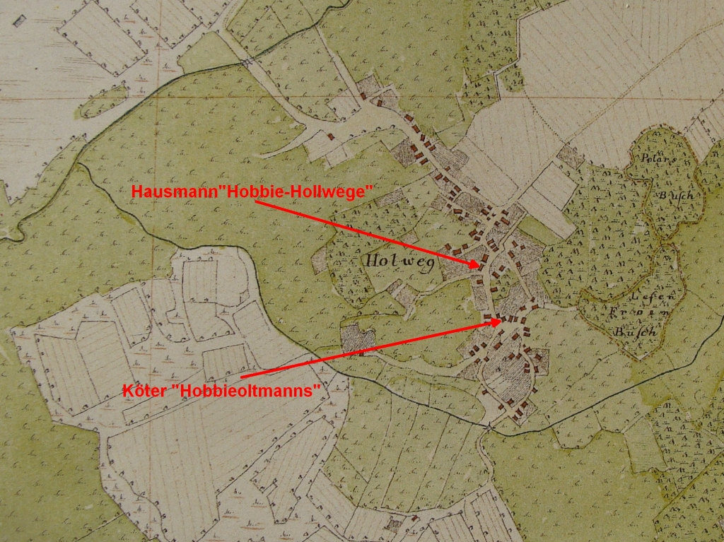 Farms in Hollwege in Vogteikarte from 1793