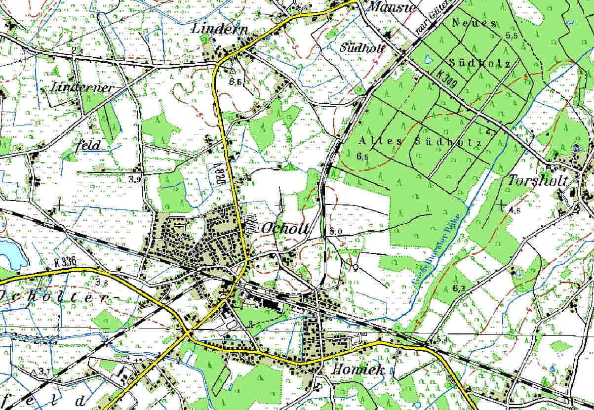 Topographic Map from Ocholt (TK50-1998)