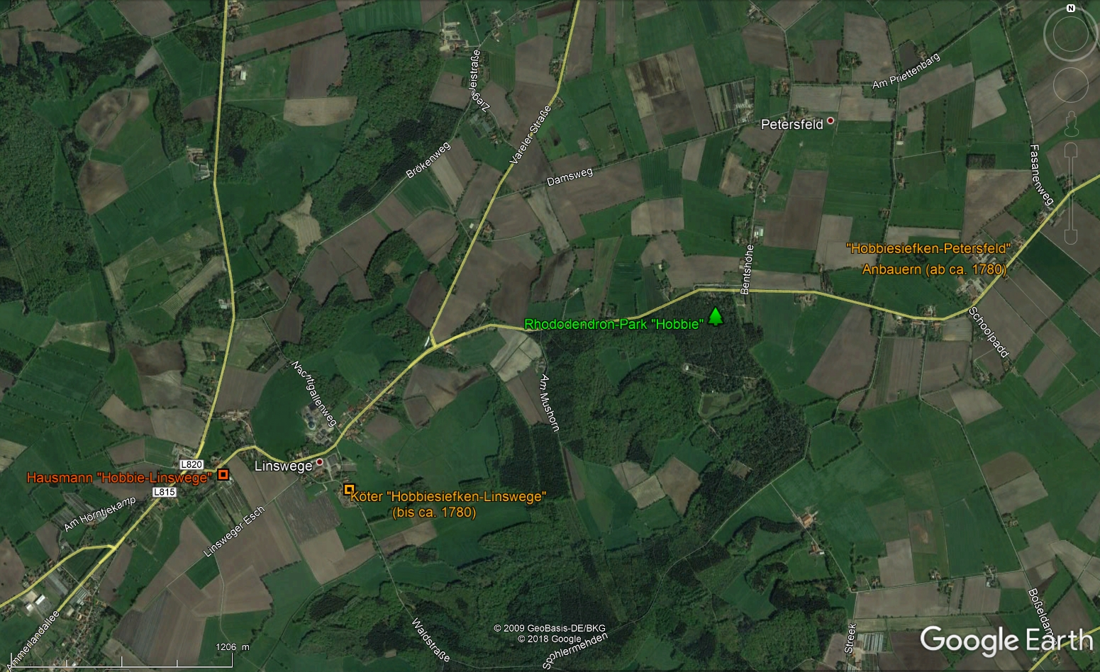 Hobbiesiefken in Linswege and Petersfeld in GoogleEarth