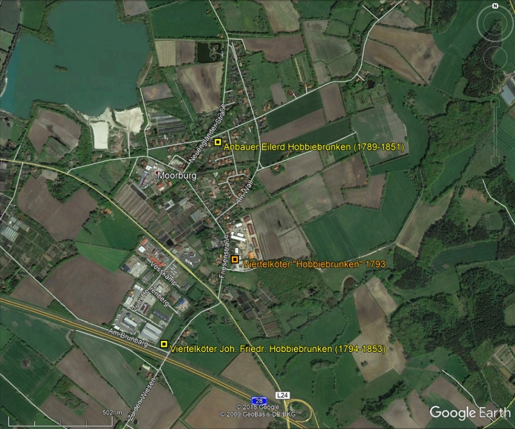 Hobbiebrunken-Farms in Moorburg in GoogleEarth