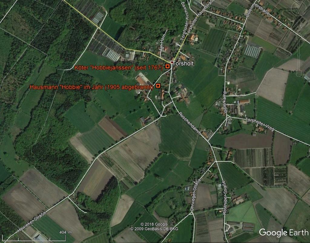 Farms in Torsholt in GoogleEarth