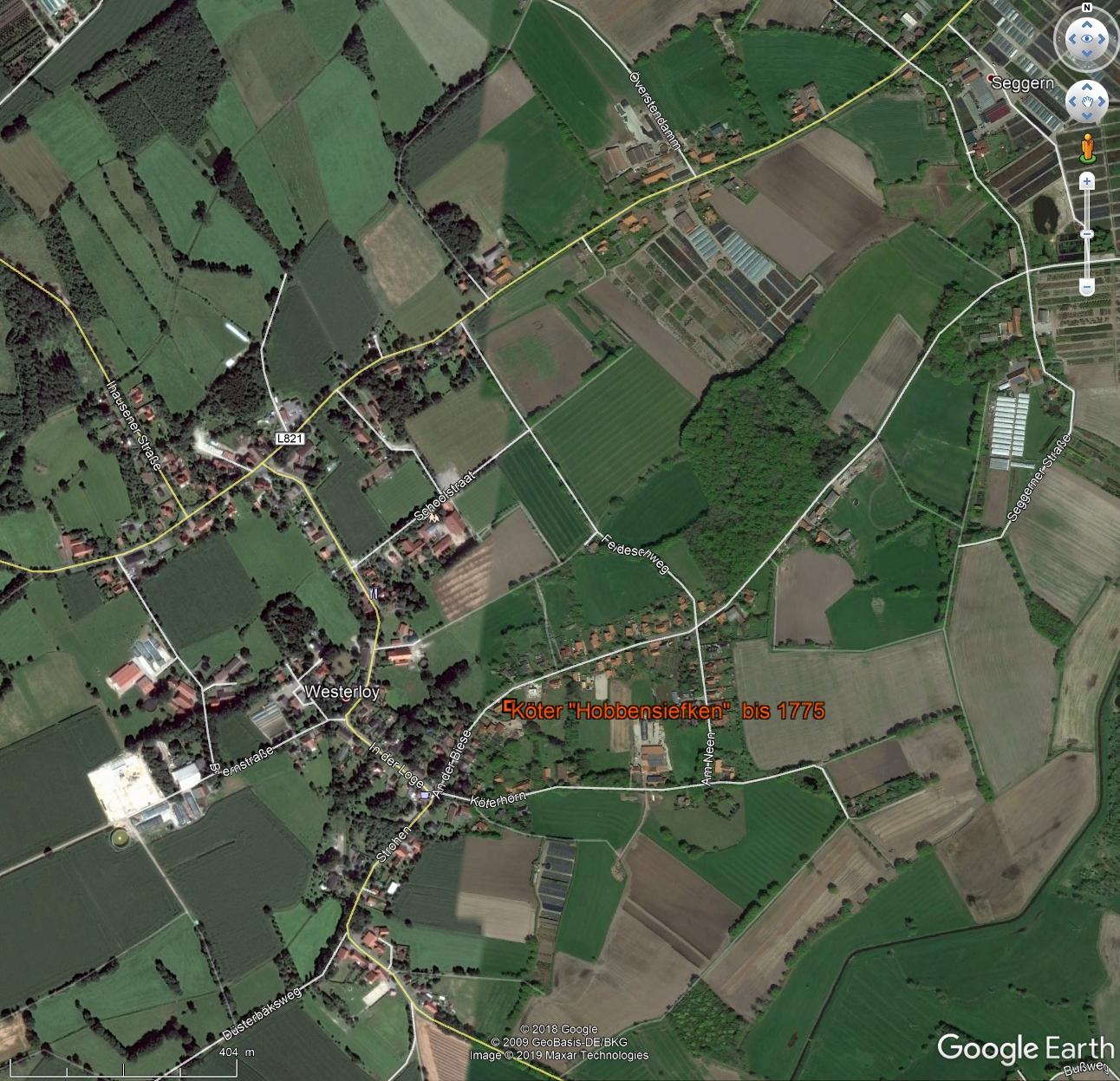 Hobbensiefken-Farm in Westerloy in GoogleEarth